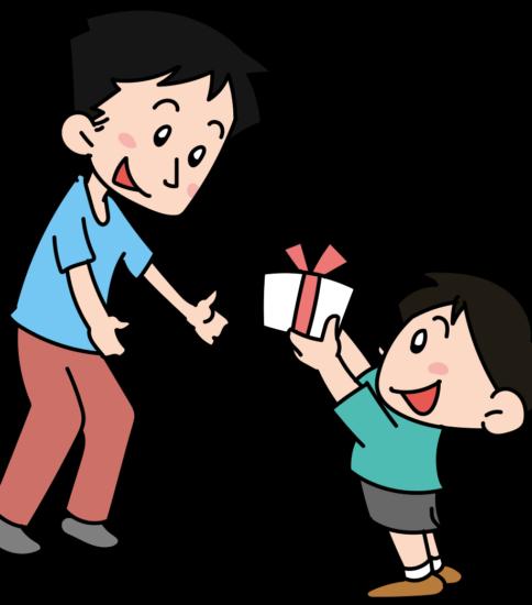 子供からプレゼントをされる父親
