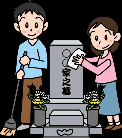 お墓の掃除をする夫婦