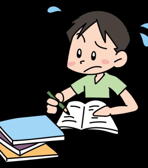 夏休み最後の日まで必死に宿題をする男の子