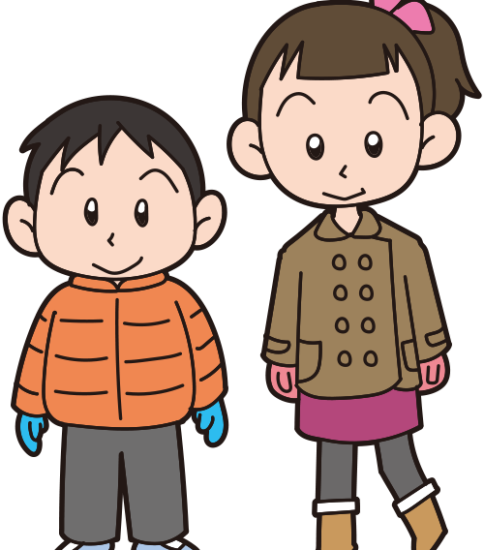 冬服の男の子と女の子