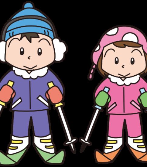 スキーを楽しむカップル