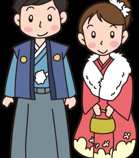 振袖と羽織袴の男女