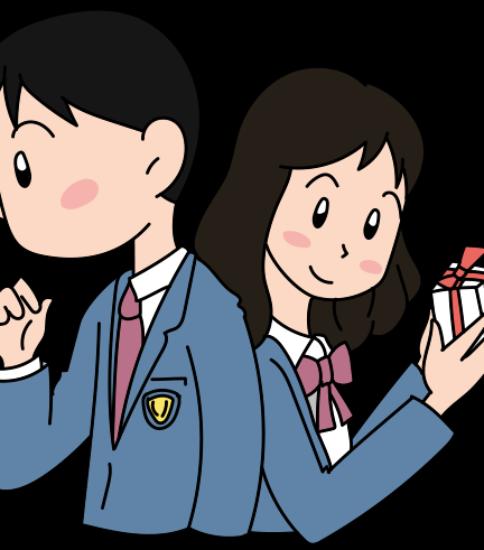 女子高生が男子にチョコをあげる