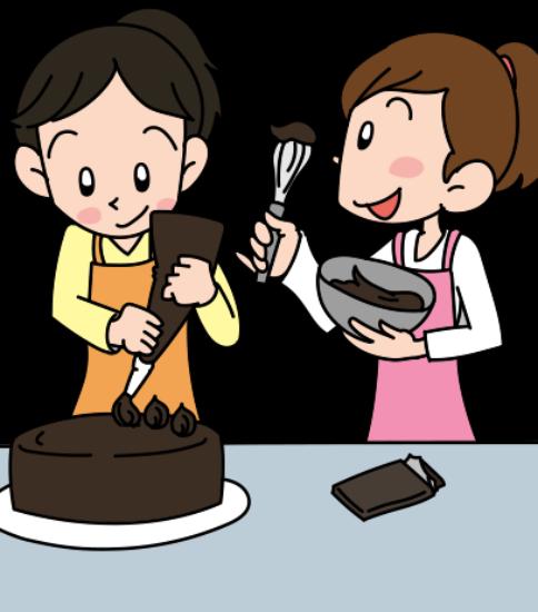 手作りチョコを作っている女子二人