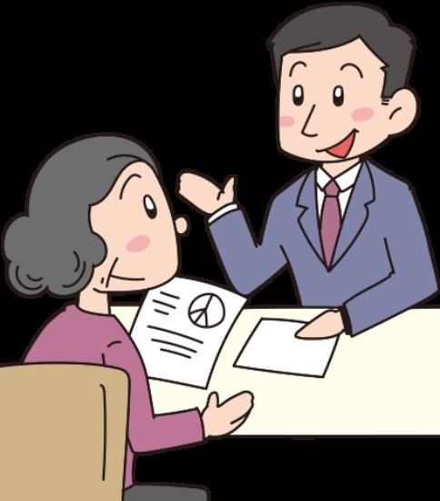 書類の説明をする男性と聞く女性