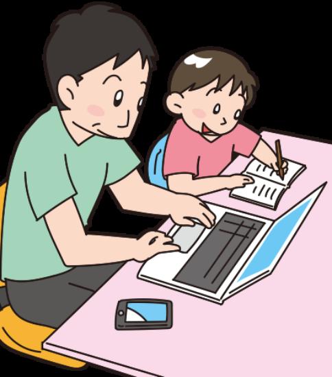 在宅ワークの横で子供が宿題