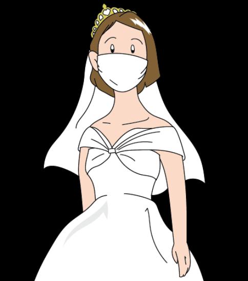 マスクをした花嫁