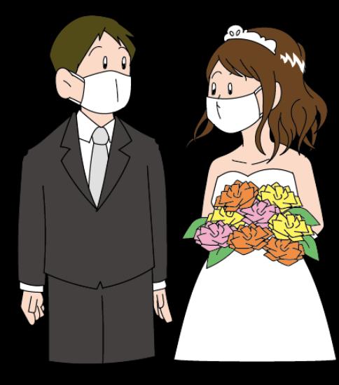 マスクをした新郎新婦