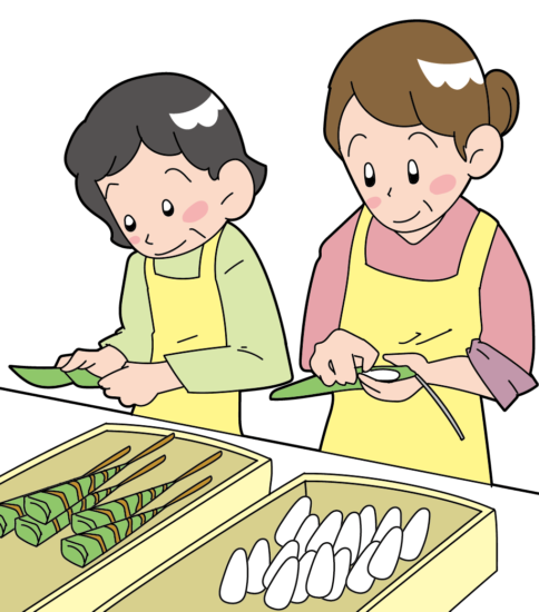 和菓子屋さんのちまき作り