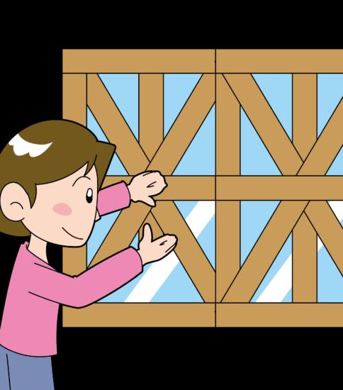 台風 窓ガラス補強