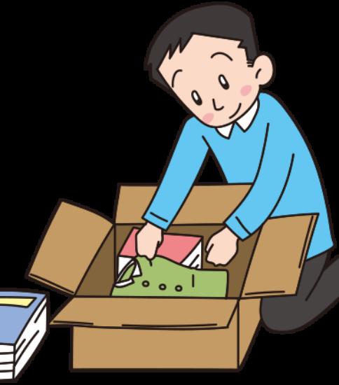 引っ越し1-荷造りする男性、単身赴任
