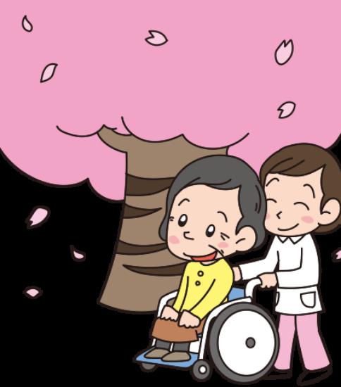 お花見1-車いすのおばちゃんと看護師さん