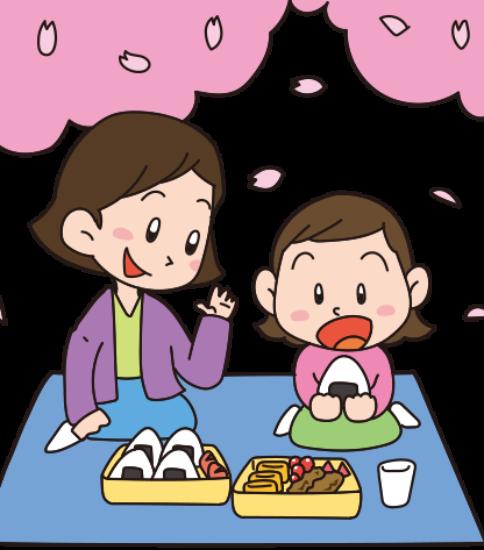 お花見3-桜の下でお弁当を食べる親子