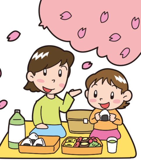 お花見-お弁当を食べる親子